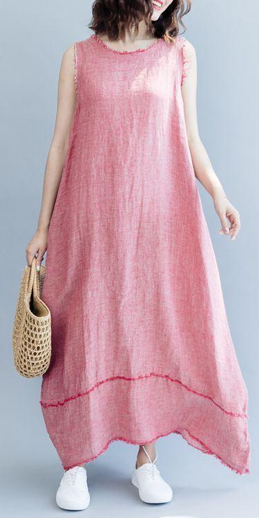 5bb7b70b7b4972 Loose Cotton Linen Sleeveless Maxi Dresses Women Casual Clothes Q2077