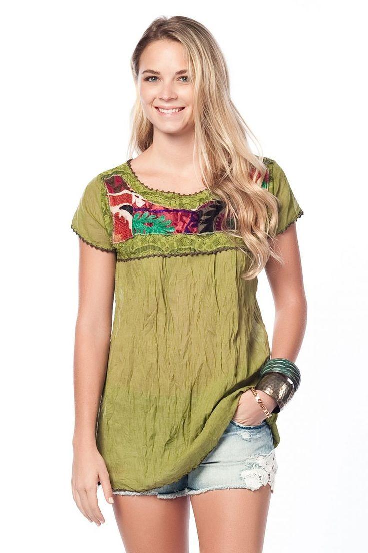 Otantik Likya Bluz - Yeşil