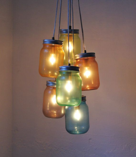 Over The Rainbow - Mason Jar Chandelier Swag Light Hanging Lighting Fixture - UpCycled Rustic Eco Friendly Wedding - BootsNGus Lamp Design