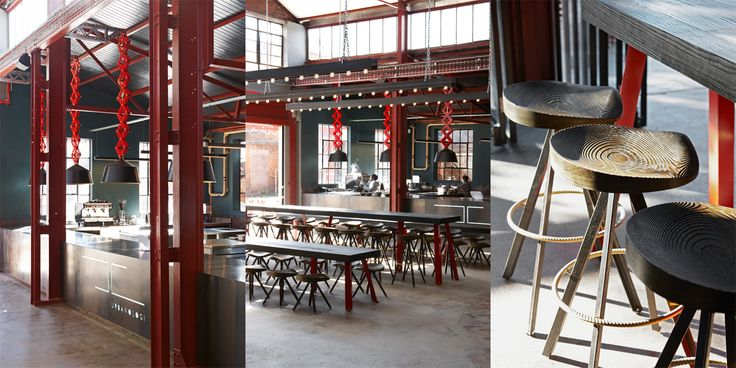 Mad Giant Craft Beer restaurant and brewery in Johannesburg. Interior and Furniture design by Haldane Martin. Photography by Micky Hoyle.  The Urbanologi restaurant has upscale Meccano lights hanging above the kitchen pass, emphasising the Mad Giant concept and brand ideology.  The beer-hall-style seating area makes use of long tables with sandblasted, black-stained table tops and swivel bar stools to encourage social interaction.