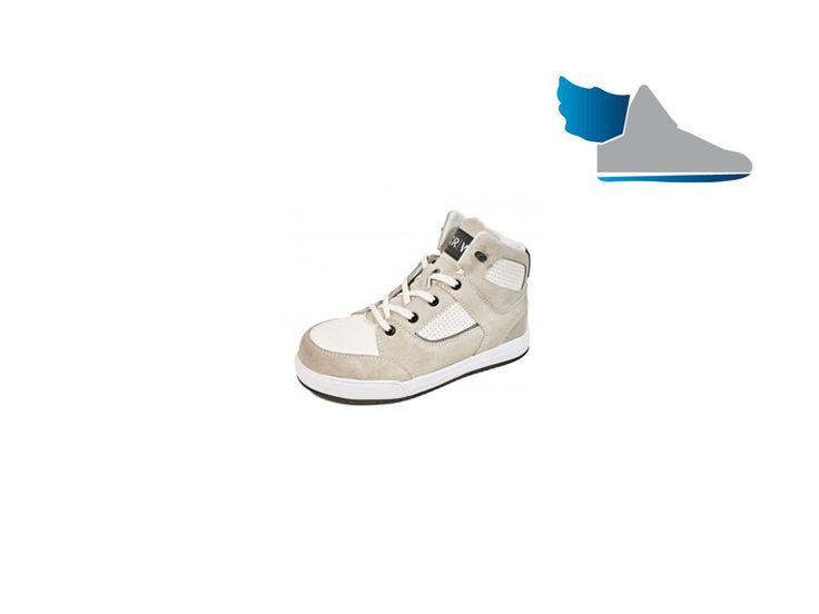 Biela, pracovná, členková obuv s moderným dizajnom.