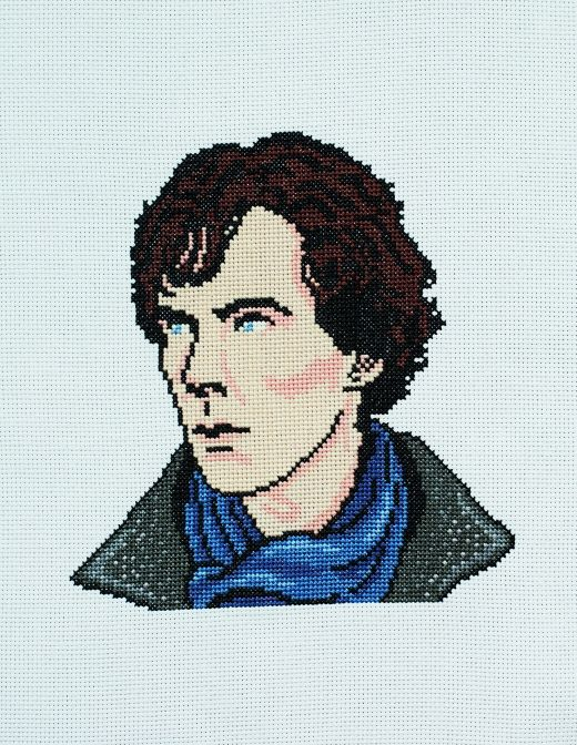 We've got a Sherlock cross-stitch pattern to download, which is from Benedict Cumberstitch by Colleen Carrington (Kyle Books, £9.99). For more information visit http://www.kylebooks.com