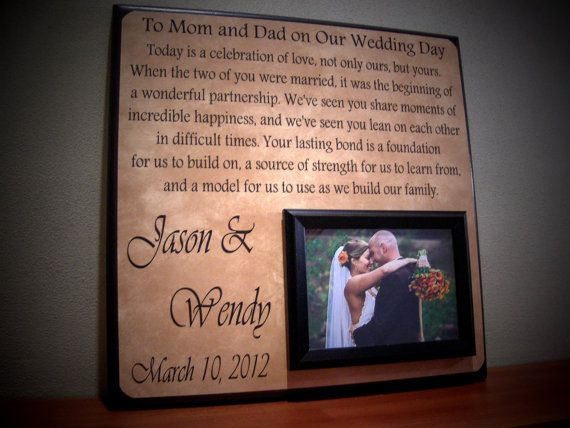 Gifts For Dad Wedding Day: Wedding Gift For Parents, Parents Wedding Gift, Parents Of
