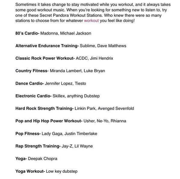 Pandora WorkOut Stations