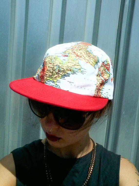 *SOLD* Vintage Baseball Hat World Map Cap Adjustable OSFA Red Bill Hat Globe Hat Retro Fashion Click and Cinch Back Buckle Back Flatbill Hat UNIQUE