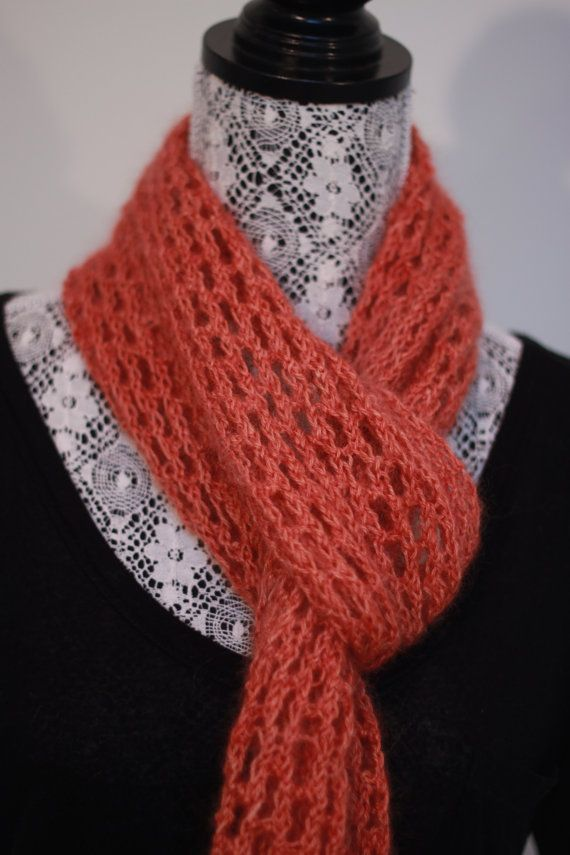 October // Orange lace knit scarf // Warm and by SoppyKnitsStuff