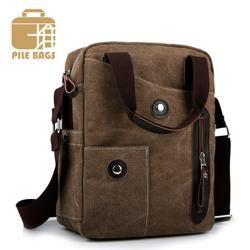 PILER Luxury coffee color Shoulder Messenger Business bags Canvas color coffee