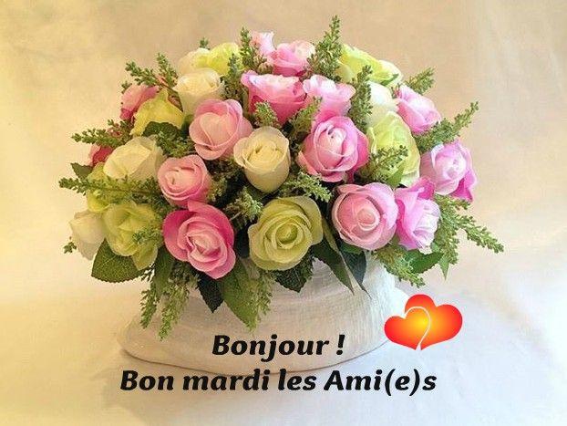 bonjour bon mardi les ami e s mardi fleurs roses rose blanche bouquet amitie love is. Black Bedroom Furniture Sets. Home Design Ideas