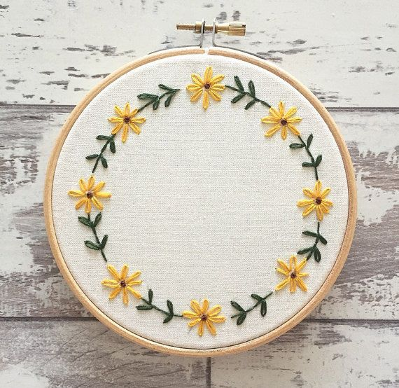 Custom Embroidery Hoop 5 Flowers Personalised Wall Art