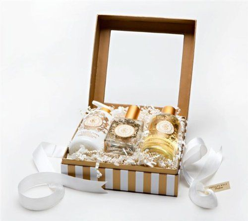 Shelley Kyle Complete Gift Set - Tiramani Fragrance by Shelley Kyle. $100.00. Wonderful for wedding favors or party favors.. Perfect for a Housewarming, Hostess or Thank You Gift!. Packaged in a beautiful cream and gold gift box with ribbon.. Shelley Kyle's version of the perfect gift- 2 oz parfum, 8 oz Hydrating lotion, and 8 oz Foaming Bath Gel.. Fragrance: Tiramani: Blood Orange, Madonna Lily, White Nectarine, Cashmere Musk, Night Blooming Jasmine.. Shelley Kyl...
