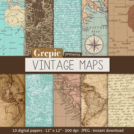 Vintage maps digital paper VINTAGE MAPS with vintage & by Grepic, $4.80