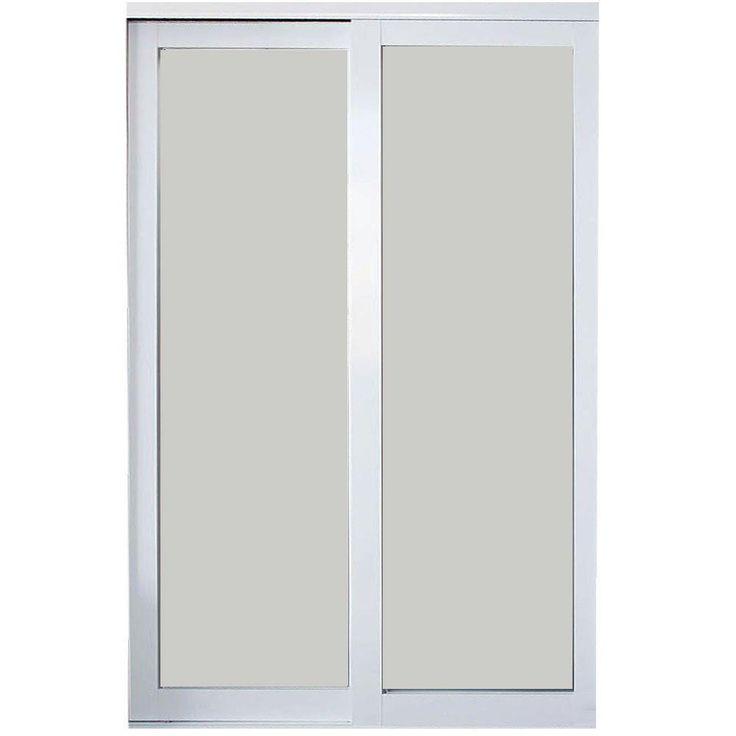 Contractors Wardrobe 96 in. x 96 in. Eclipse White Finish Mystique Glass Aluminum Interior Sliding Door