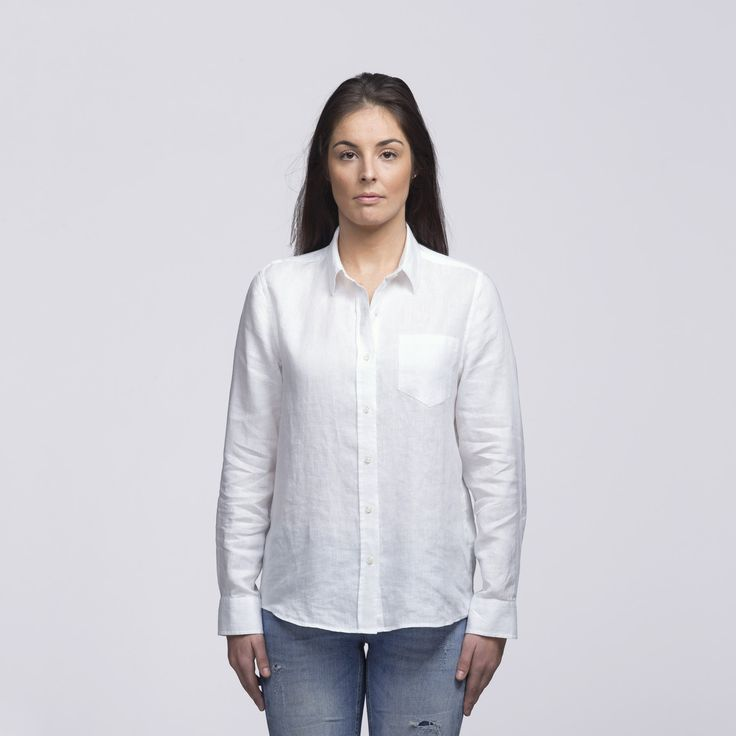 Womens White Linen Shirt | smpli - 2 Colours