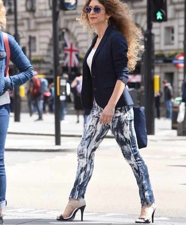 Fashion blogger Chrysanthi Kosmatou in a pair of #SS17 #sagiakos leather high heel sandals in London during Mens Fashion Week!