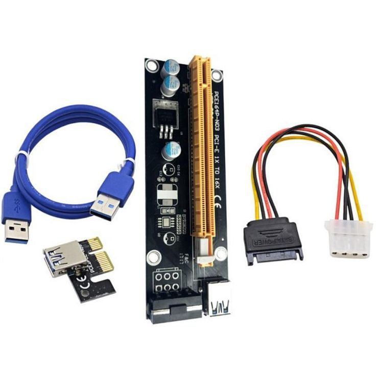 Riser Card USB 3.0 PCI-E Express 1X To 16X Extender Riser Adapter Card USB Cable& 15Pin SATA to 4Pin Power Cable
