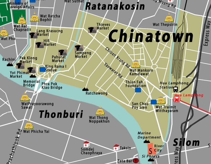 Bangkok Thailand Attractions Map Chinatown Town Map