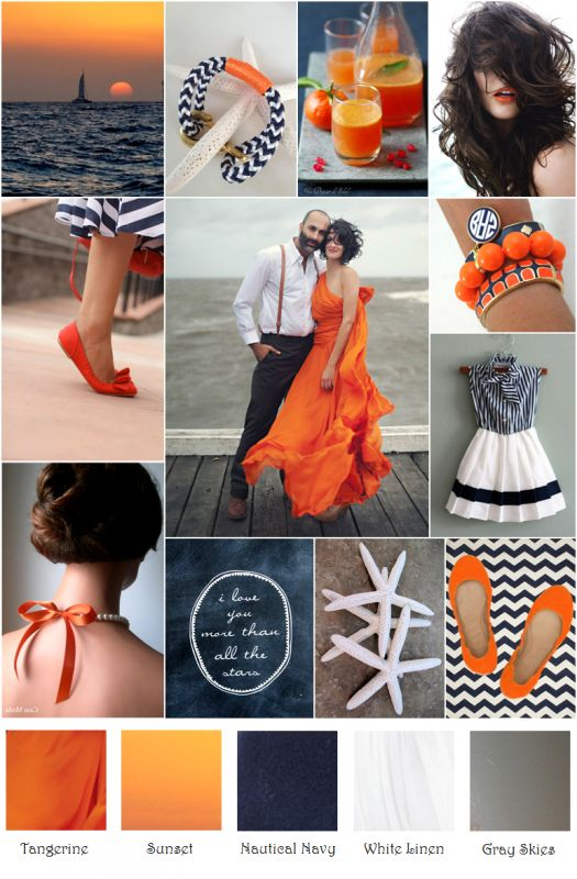 Carly's Room!  Color inspiration: Tangerine, Sunset, Nautical Navy, White Linen, and Grey Skies!  #Inspiration #color