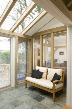 Small glazed oak sun room in Tin house on Dartmoor
