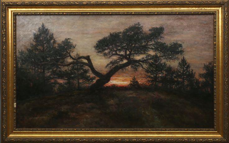 SERVERIN NILSON. Skogsbild i soluppgång, olja på duk, signerad.