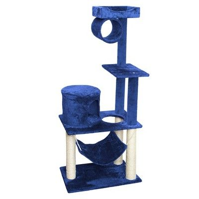 Oxgord Paws & Pals Cat Scratch Tree Condo Furniture 55 - Navy Blue and White