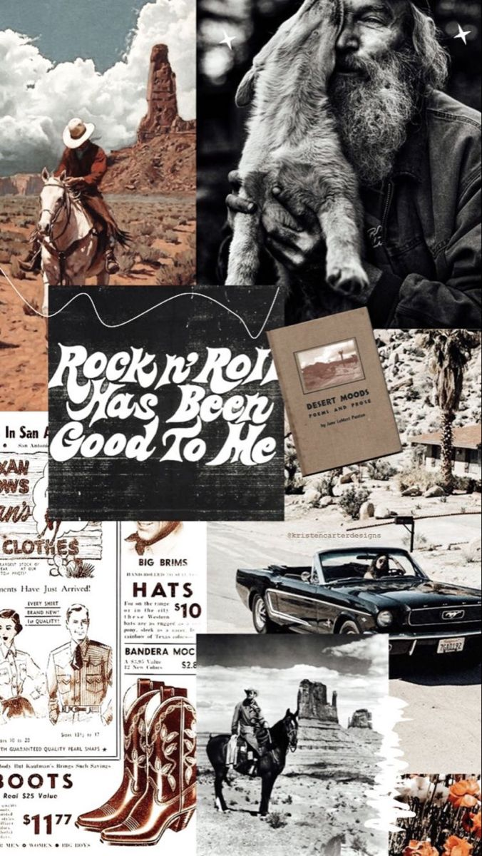 Rocker Chic Moodboard Western Photography Western Wall Art Picture Collage Wall