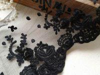 Вышитые тюль кружевной, черная роза кружевной отделкой, черная ткань кружевной, сетка отделка