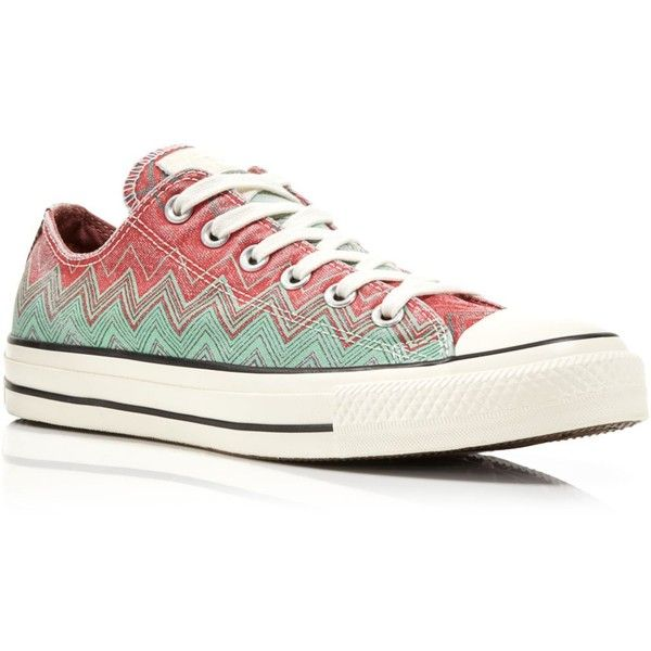 Converse Missoni All Star Low Top Sneakers ($70) ❤ liked on Polyvore featuring shoes, sneakers, converse, chaussures, print shoes, converse trainers, converse sneakers, star sneakers and low top canvas shoes