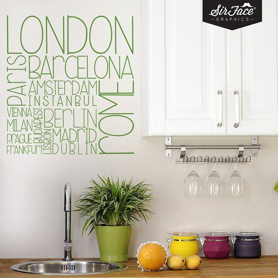 European Cities Wall Decal  Map Wall Sticker  by SirFaceGraphics, £25.00