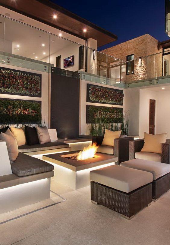 herrenhuser modernen luxus garten feuerstelle versunkene feuerstellen terrasse feuerstelle indoor outdoor wohnzimmer treppen arquitetura tipps - Versunkene Feuerstelle Designs
