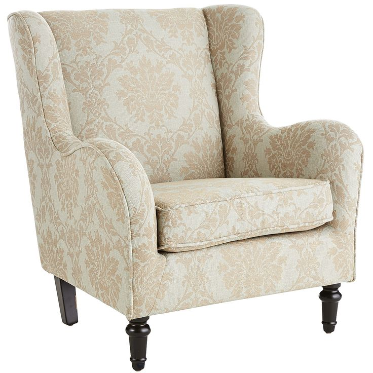 tan claudio wing chair taupe hardwood