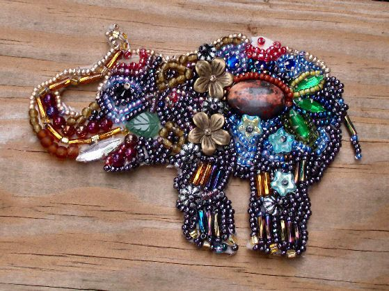 Handmade Beaded Joyful Baby Elephant Brooch with it Gold by emenow, $140.00