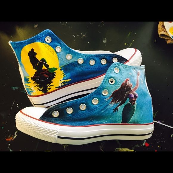 ❗️ONE LEFT❗️Little Mermaid Converse High Tops Something new I have been working on! I have been experimenting with different paints, and doing a lot of research about what other shoe customizers would use to paint their shoes, and I have found the perfect product! New and improved hand painted The Little Mermaid converse high top sneakers are hand painted to order. Please ask any questions. I also sell through Etsy (link in my profile)!Email me at MishmashArtist@gmail.com for your own custom…