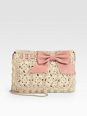RED Valentino Crochet Raffia Clutch: