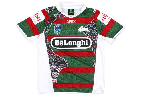 South Sydney Rabbitohs 9s Ltd Edition Indigenous NRL 2014 S/S Rugby Shirt Red/Green/Black £59.99