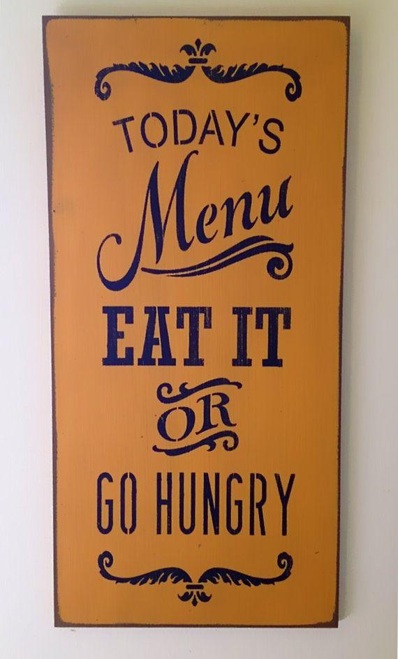 Today's Menu, Custom Handpainted Rustic Farm Kitchen Sign 12 x 24 on Etsy, $43.00