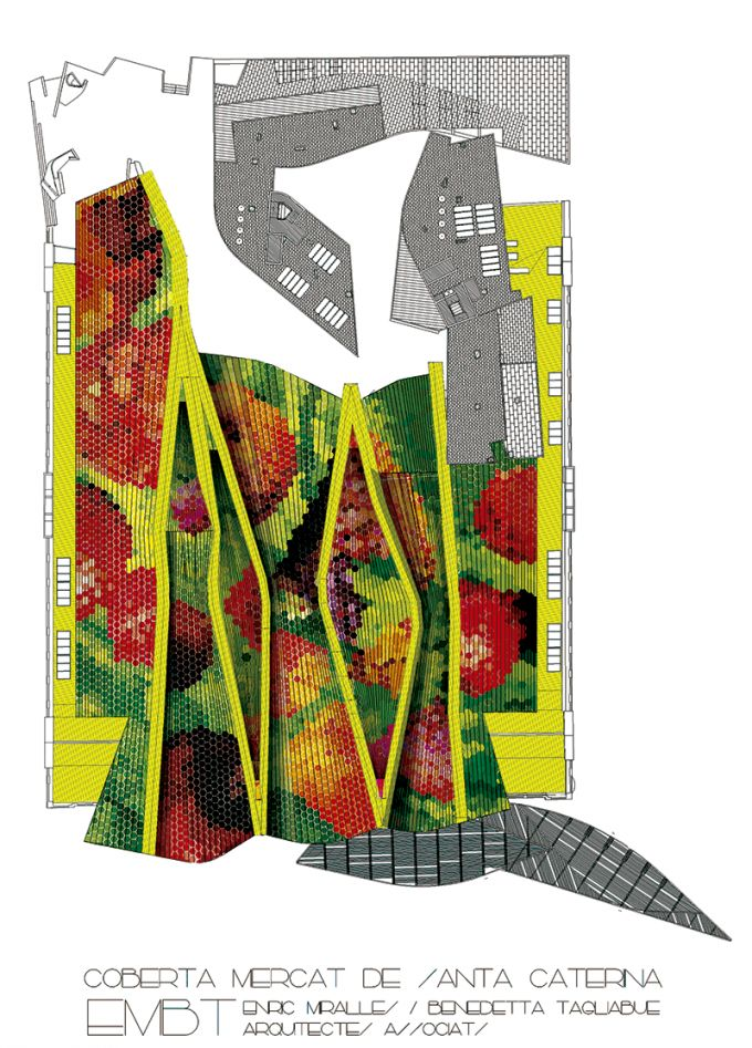 Roof plan. Rehabilitation of Santa Caterina Market by EMBT. Click above to see larger image.