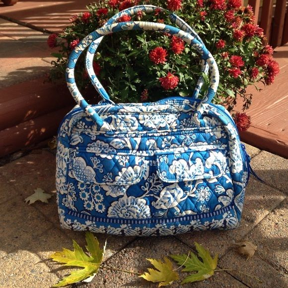 """Vera Bradley blue and white purse Preowned and in used condition .  Usual wear and tear for a used item. Selling for a friend.  See pictures and feel free to ask questions.  Fraying of handles, staining inside & outside Strap drop 7"""". H 11.5"""". L 12"""" W 5"""". Wearing of material on bottom & corners. Vera Bradley Bags Shoulder Bags"""