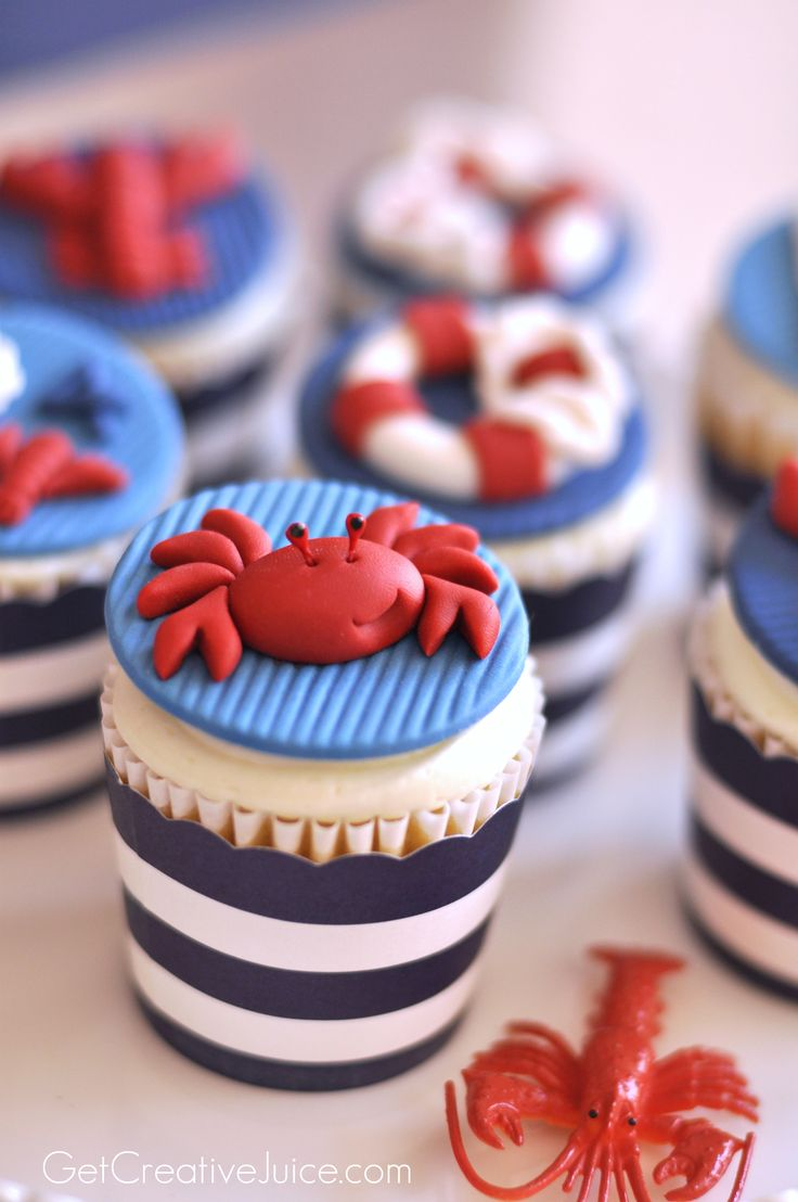Nautical Party Fondant Crab Cupcake. (Inspiration)