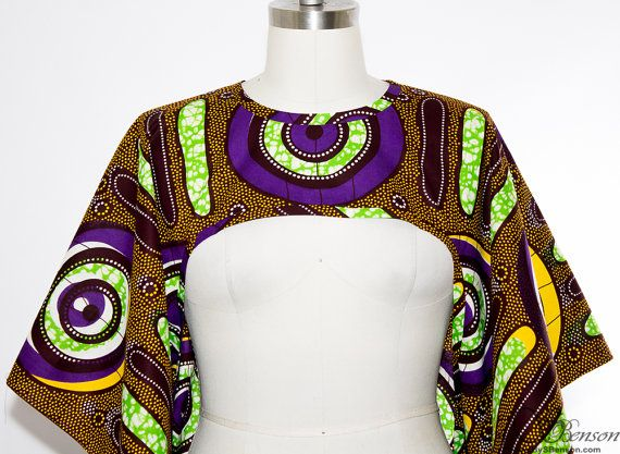 African Print Shrug Purple One Size by aconversationpiece on Etsy