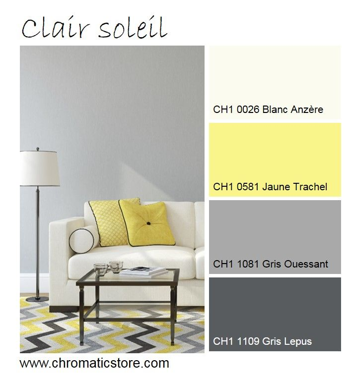L'association de jaune et de gris, jouant entre l'ombre et la lumière, est toujours réussie. www.chromaticstore.com #inspiration #deco #salon #jaune