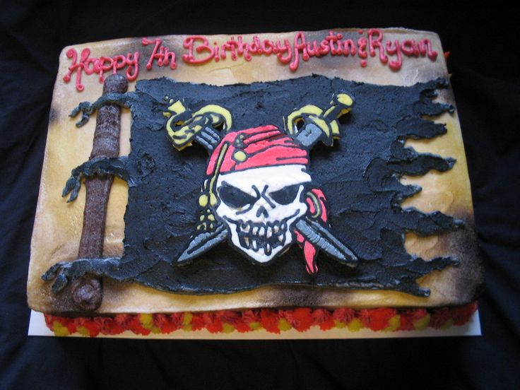 https://flic.kr/p/5AjkGv | Pirate flag sheet cake