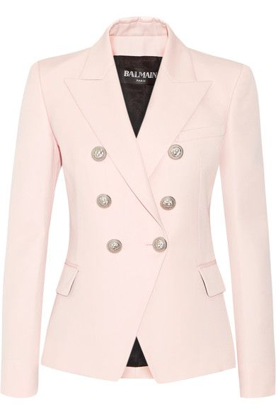 Balmain Double-breasted wool blazer | Pastel-pink wool Button fastenings through double-breasted front 100% wool; lining: 52% viscose, 48% cotton Dry clean Imported
