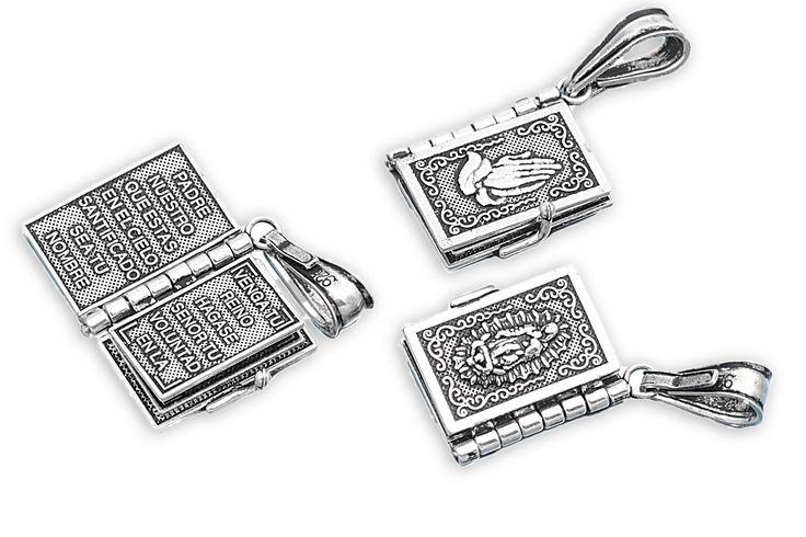 """Sterling Silver Our Father Padre Nuestro Prayer Pendant 20MM (Free 18"""" Chain)"""