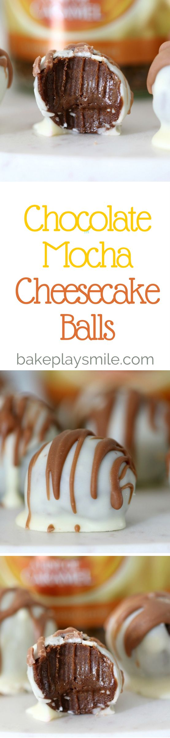 Chocolate Mocha Cheesecake Balls  These Rich Chocolate Mocha Cheesecake Balls are made from just 4 ingredients, are completely no-bake… and taste AMAZING! They're also highly, highly addictive… just sayin'! #cheesecake #balls #nobake #dessert