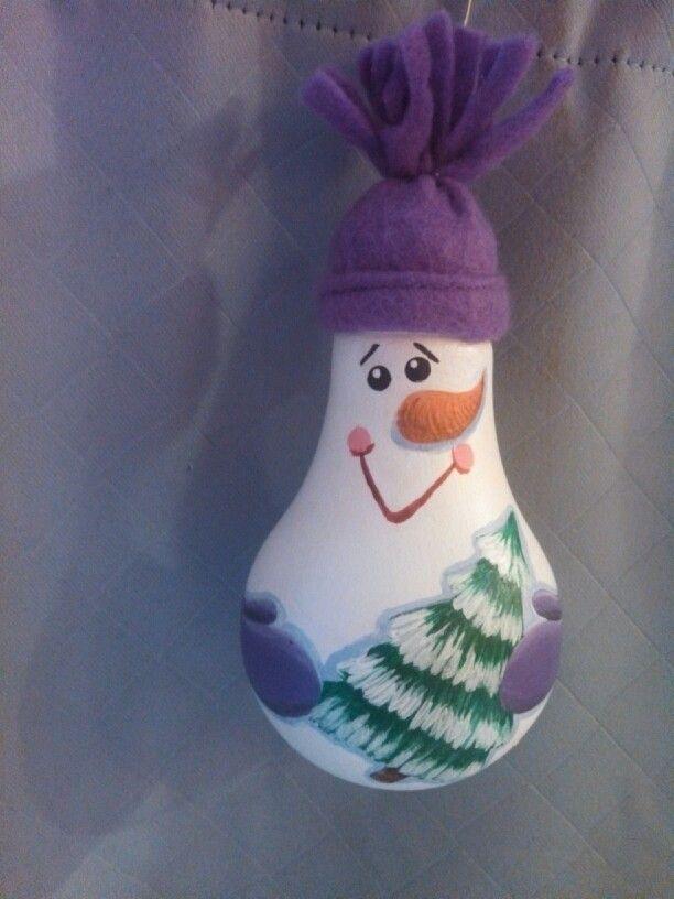 Snowman painted light bulb