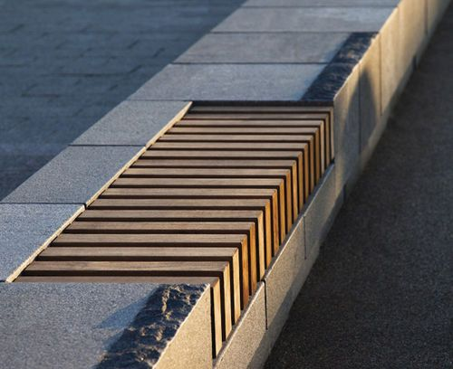 Contemporary wooden public bench