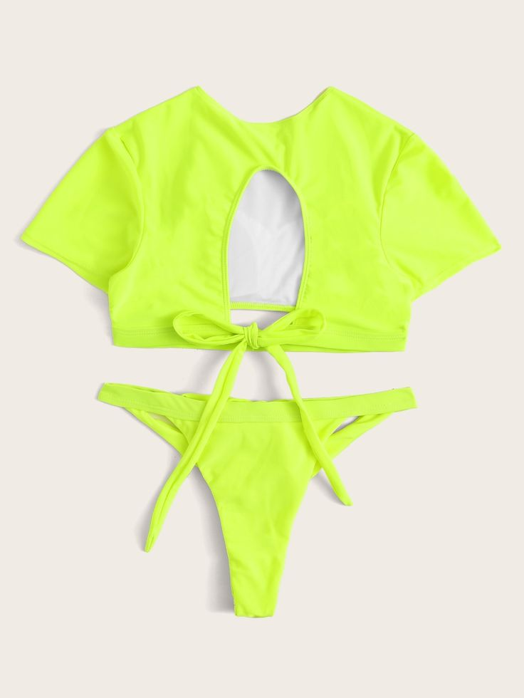#ad Neon Lime Short Sleeve Self Tie Two Piece Swimwear. #Yescanberemoved#GreenBr... 1
