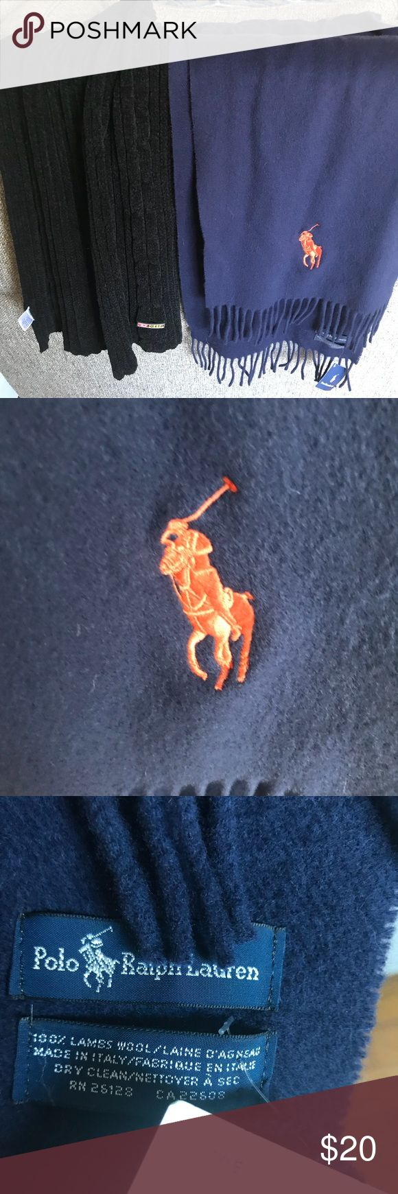 Men's scarves - RL and Diesel Soft black Diesel scarf and NWT Ralph Lauren Polo scarf, navy with orange logo. Polo by Ralph Lauren Accessories Scarves