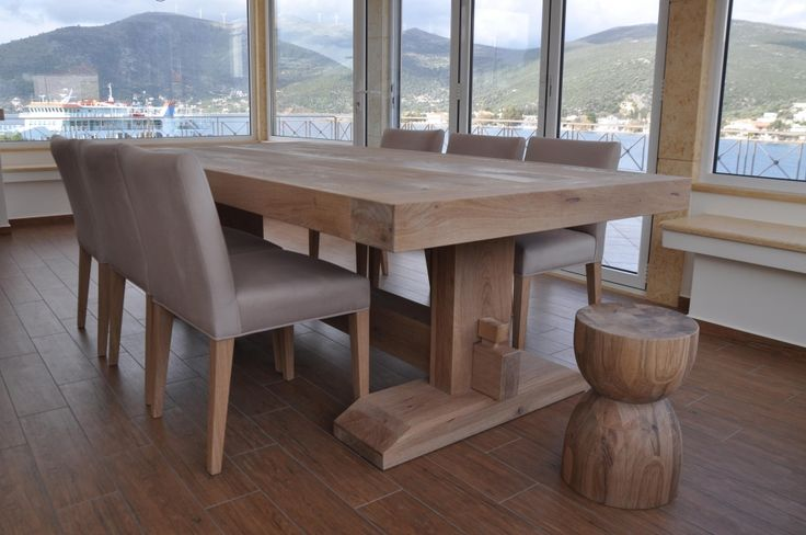 Custom made monastery table, dining table, solid wood oak, Greek interior design