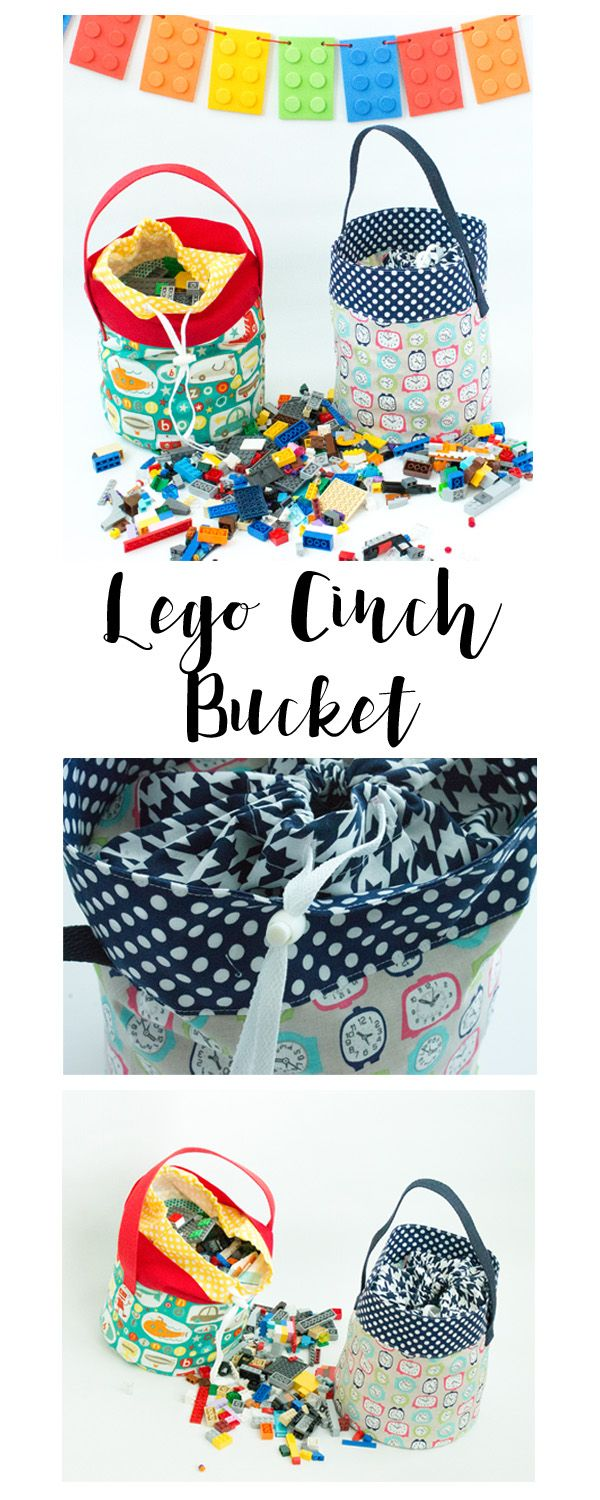 Fabric Lego Bucket Tutorial - fabric basket and drawstring bag in one ~ Crazy Little Projects
